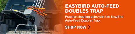 EasyBird Auto-Feed Doubles Trap loaded in the pack of a pick-up truck