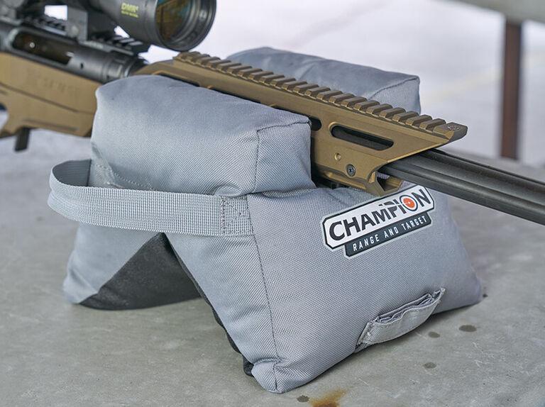 Rifle resting on Champion Shooting Sang Bag