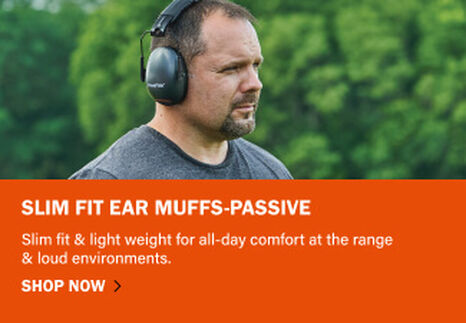 Slim Fit Ear Muffs-Passive on orange background