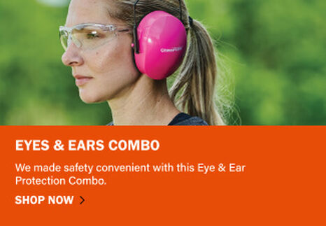 Woman wearing Champion Eyes & Ears Combo of glasses and muffs