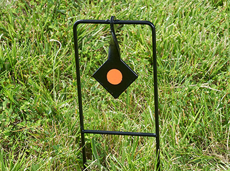 Rimfire Steel Single Spinner Target placed in ground