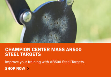 Center Mass AR500 Steel Target showing impacts of bullets