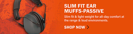 Slim Fit Ear Muffs-Passive on orange background