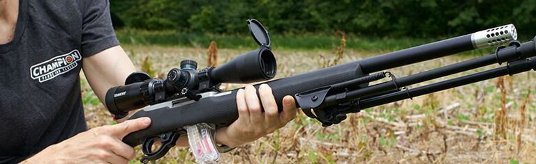 Shooter holding rifle with Champion Bipod attached