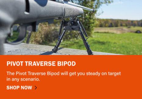 Pivot Traverse Bipod mounted on rifle