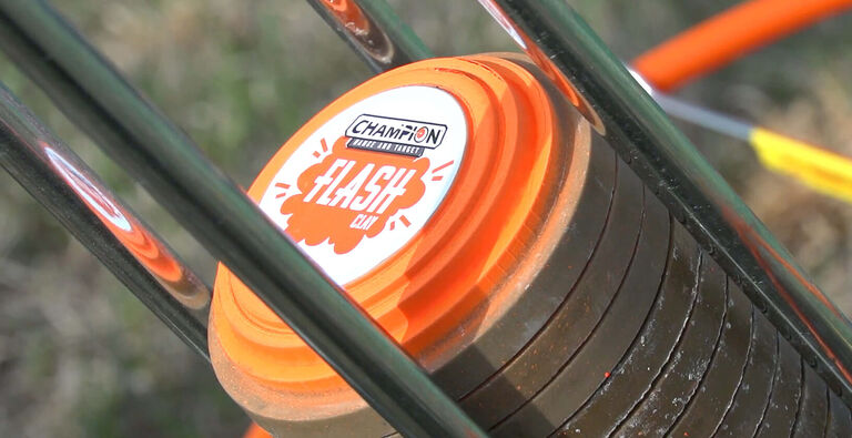 Champion Target Flash Clays loaded in Electronic Trap