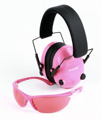 Pink Ballistic Glasses and Electronic Ear Muffs
